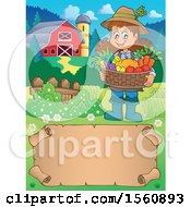 Clipart Of A Parchment Border Of A Female Farmer Royalty Free Vector Illustration