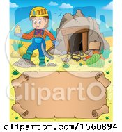 Parchment Border Of A Miner Holding Ore By A Cave