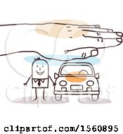 Poster, Art Print Of Hand Protecting A Stick Business Man And His Car