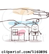 Clipart Of A Hand Protecting A Stick Business Man And His Home Royalty Free Vector Illustration