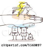 Poster, Art Print Of Hand Protecting A Stick Dad Mom And Baby