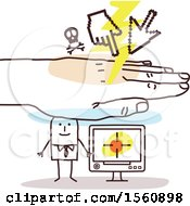 Poster, Art Print Of Hand Protecting A Stick Business Man And His Computer From A Cyber Attack