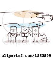 Clipart Of A Hand Protecting A Stick Grandpa Dad Mom And Baby Royalty Free Vector Illustration
