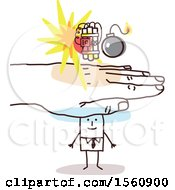 Clipart Of A Hand Protecting A Stick Business Man From A Bomb Royalty Free Vector Illustration
