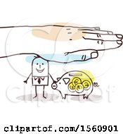 Poster, Art Print Of Hand Protecting A Stick Business Man And Piggy Bank