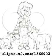 Clipart Of A Lineart Female Farmer Tending To Her Pigs Royalty Free Vector Illustration