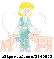 Blond Female Farmer Tending To Her Pigs