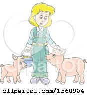 Clipart Of A Blond White Female Farmer Tending To Her Pigs Royalty Free Vector Illustration