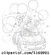 Lineart Clown Driving A Car With Balloons