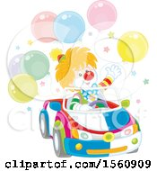 Clown Driving A Car With Balloons