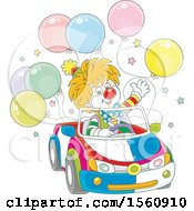 Clipart Of A Cute Clown Driving A Car With Balloons Royalty Free Vector Illustration by Alex Bannykh