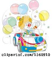 Cute Clown Driving A Car With Balloons