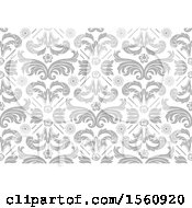 Gray Floral Damask Background
