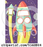 Clipart Of Two Rockets In Outer Space Royalty Free Vector Illustration