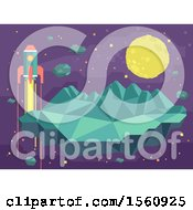 Clipart Of A Geometric Moon Rocket And Asteroid Royalty Free Vector Illustration