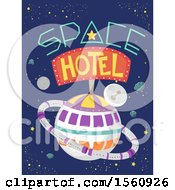 Clipart Of A Hotel In Outer Space Royalty Free Vector Illustration