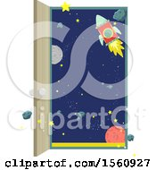 Clipart Of A Rocket And Planets Seen Through An Open Door Royalty Free Vector Illustration