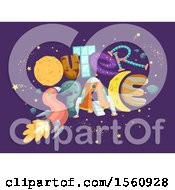 Clipart Of A Space Ship Rocket Planets Moon And Stars Forming The Words Outer Space Royalty Free Vector Illustration