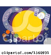 Clipart Of A Trappist 1 Star With Seven Orbiting Planets Royalty Free Vector Illustration