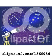 Clipart Of A Telescope With Alphabet Star Constellations Royalty Free Vector Illustration