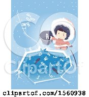 Clipart Of A Happy Ice Age Girl By An Ice Pond With Fish And Letters Royalty Free Vector Illustration