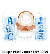 Clipart Of A Bundled Eskimo Snowman With Alphabet And Number Ice Blocks Royalty Free Vector Illustration