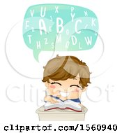 Boy Saying The Abcs And Reading A Book