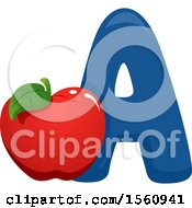 Clipart Of A Letter A And Apple Royalty Free Vector Illustration