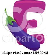 Clipart Of A Letter E And Eggplant Royalty Free Vector Illustration