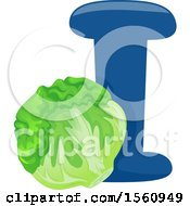 Clipart Of A Letter I And Iceberg Lettuce Royalty Free Vector Illustration
