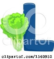 Clipart Of A Letter L And Lettuce Royalty Free Vector Illustration
