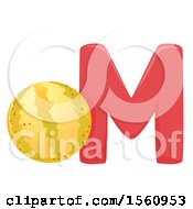 Clipart Of A Letter M And Melon Royalty Free Vector Illustration