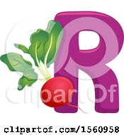 Clipart Of A Letter R And Radish Royalty Free Vector Illustration