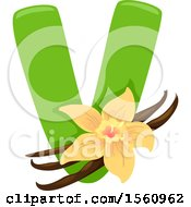 Clipart Of A Letter V And Vanilla Royalty Free Vector Illustration