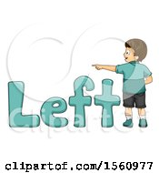 Boy Pointing To The Left With Text
