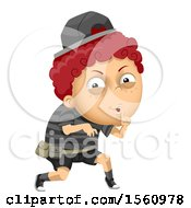 Clipart Of A Sneaky Evil Boy Royalty Free Vector Illustration