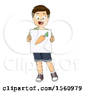 Clipart Of A Boy Holding A Carrot Flash Card Royalty Free Vector Illustration