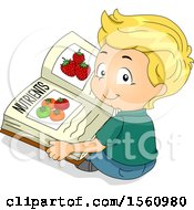 Clipart Of A Boy Reading A Book About Food And Nutrients Royalty Free Vector Illustration