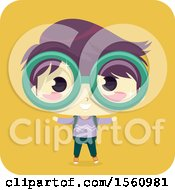 Clipart Of A Boy Wearing Big Glasses Royalty Free Vector Illustration