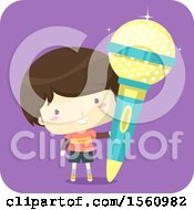 Clipart Of A Boy With A Giant Microphone Royalty Free Vector Illustration
