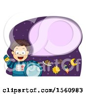 Clipart Of A Boy Astronaut Talking With A Rocket And Planets Royalty Free Vector Illustration