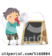 Clipart Of A Boy Using A Megaphone By A Black Board Sign Royalty Free Vector Illustration