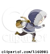 Clipart Of A Male Student Ice Skating To School Royalty Free Vector Illustration