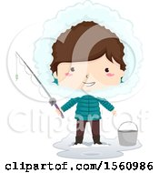 Clipart Of A Happy Brunette White Boy Holding A Fishing Pole And Standing By A Bucket Royalty Free Vector Illustration