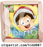 Clipart Of A Happy Boy Wearing A Santa Hat And Looking Into A Christmas Gift Box Royalty Free Vector Illustration