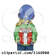 Clipart Of A Rear View Of A Boy Holding A Christmas Present Behind His Back Royalty Free Vector Illustration