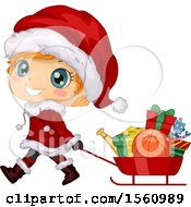 Clipart Of A Cute Red Haired Boy In A Santa Suit Pulling Fits In A Sled Royalty Free Vector Illustration