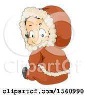 Clipart Of A Happy Eskimo Boy Toddler Sitting And Looking Back Royalty Free Vector Illustration