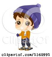Happy Brunette Boy Snow Walking