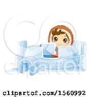 Clipart Of A Happy Eskimo Boy Building An Igloo Royalty Free Vector Illustration